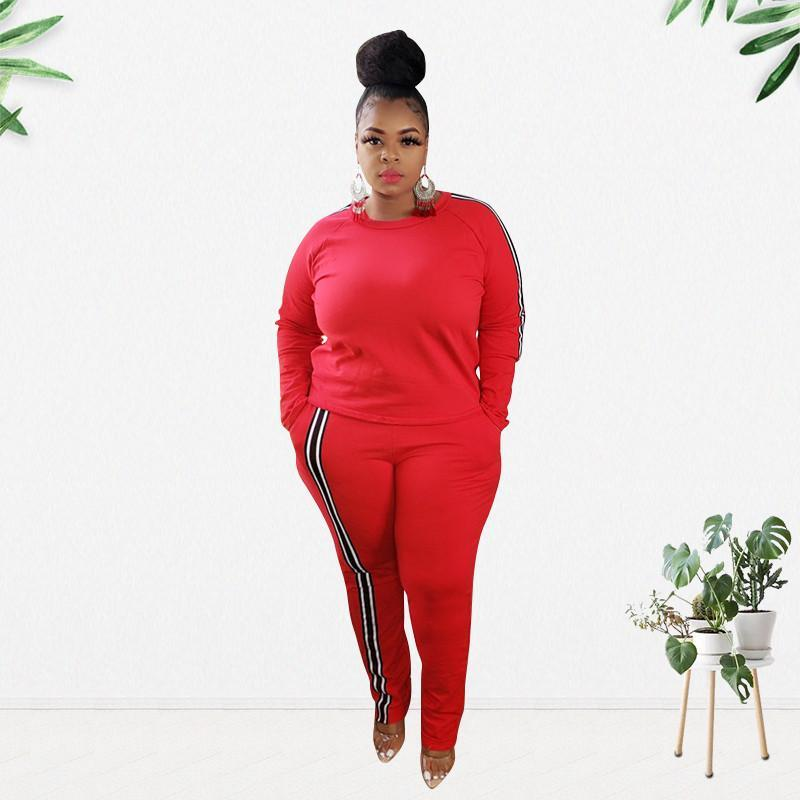 Plus size 3X 4X 5X fall winter women bigger size two piece set black outfits long sleeve sweatshirt+pants casual solid color tracksuit 3732