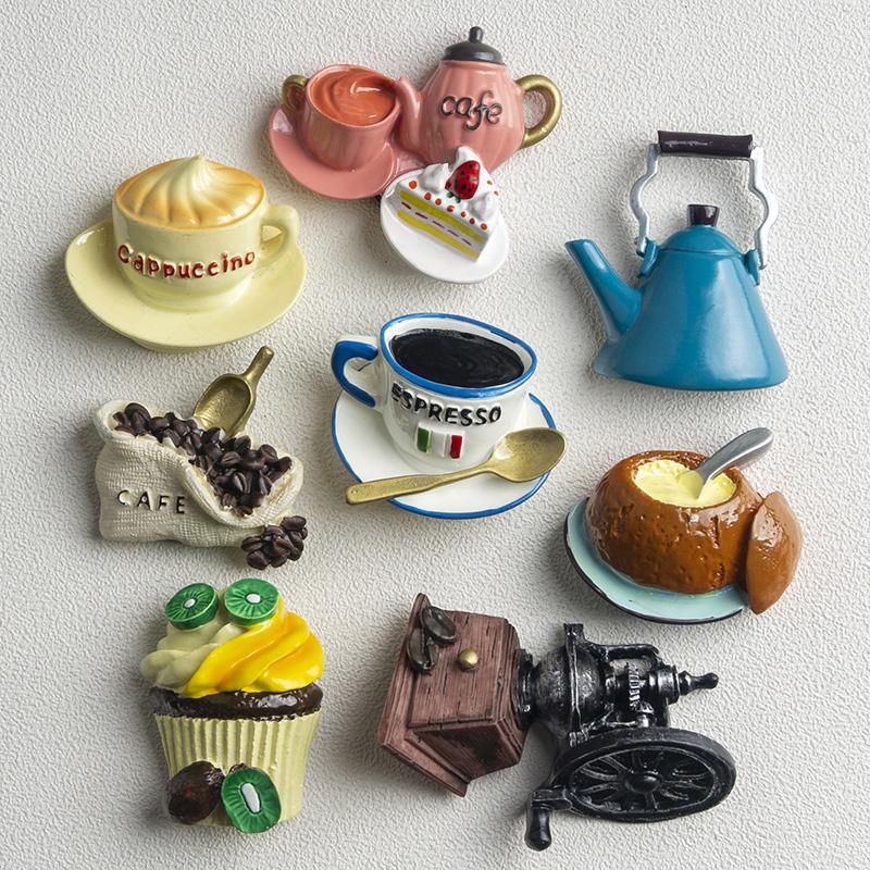 Nordic Ins Home Decoration 3d Food Macarone Coffee Refrigerator Paste Magnetic Coffee Cake Kettle Fridge Magnet Collection Gifts bbyXOO