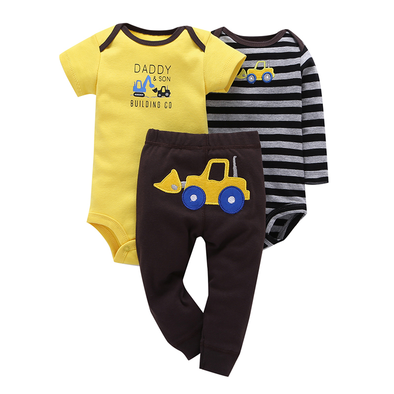 Baby Boy 3 Pieces Set Yellow Cartoon Short Sleeve+Climbing Striped Full Sleeve Romper+Pants Free Shipping Baby Clothes