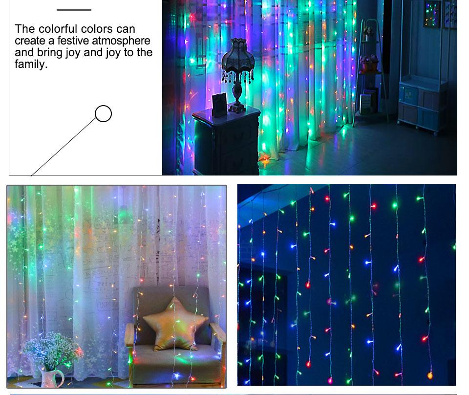 4.5M led wedding fairy string light christmas lights AC 110V 220V Star Led Curtain String halloween Light Decor For Home Party (19)