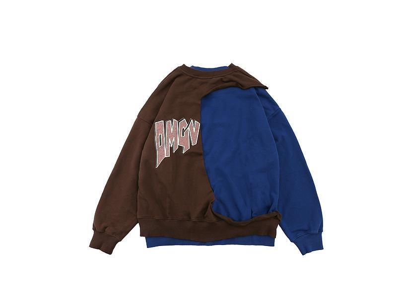 2021 Winter Letter Print Patchwork Pullover Men Women Couple 100% Cotton Sweatshirts Hip-Hop High Street Oversize Crewneck