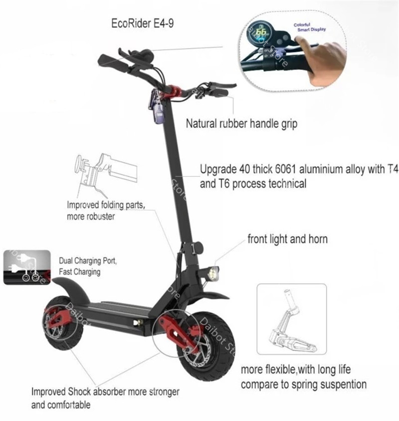 Electric Scooter With Seat Adults 2 Wheels Electric Scooters 1000W2000W3600W Speed 70KMH Ecorider E4-9 Foldable Electric Bike (16)