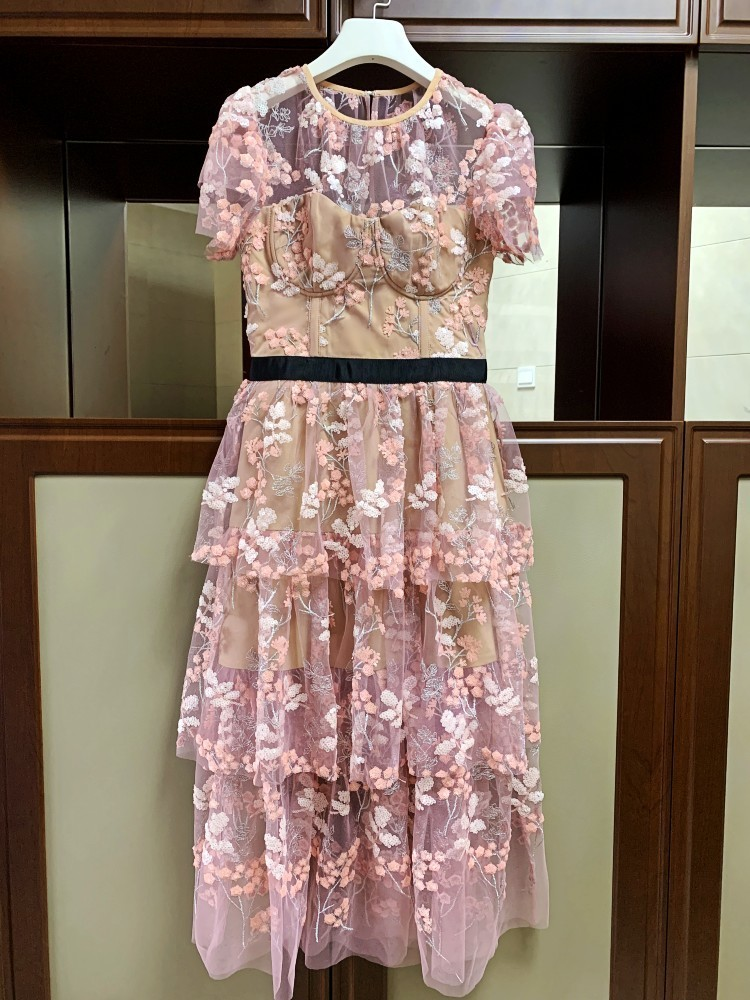 Elegant-Ruffles-Short-Sleeve-Pink-Mesh-Floral-Embroidery-Long-Party-Dress-2019-Summer-Women-High-Quality (1)
