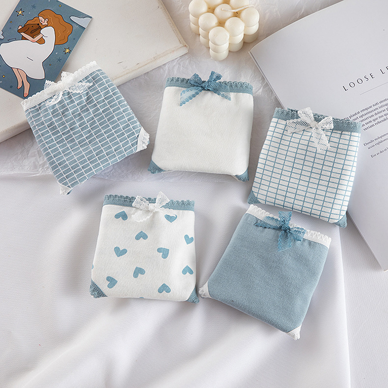 High Quality Plaid Lingerie Girl Love Panties Soft Cotton Underwear Blue Briefs Girls Pants Sexy Lingerie19