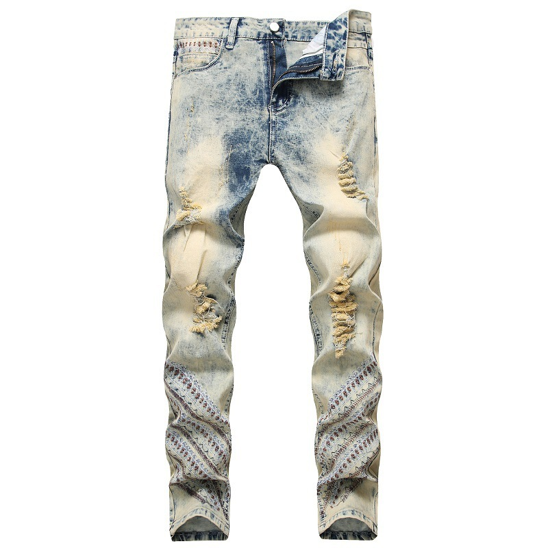 2020 Mens Retro Jeans Hip hop Rock Men Embroidered Pants Clothes Jean Homme Brand Distressed Ripped Denim Biker Jeans