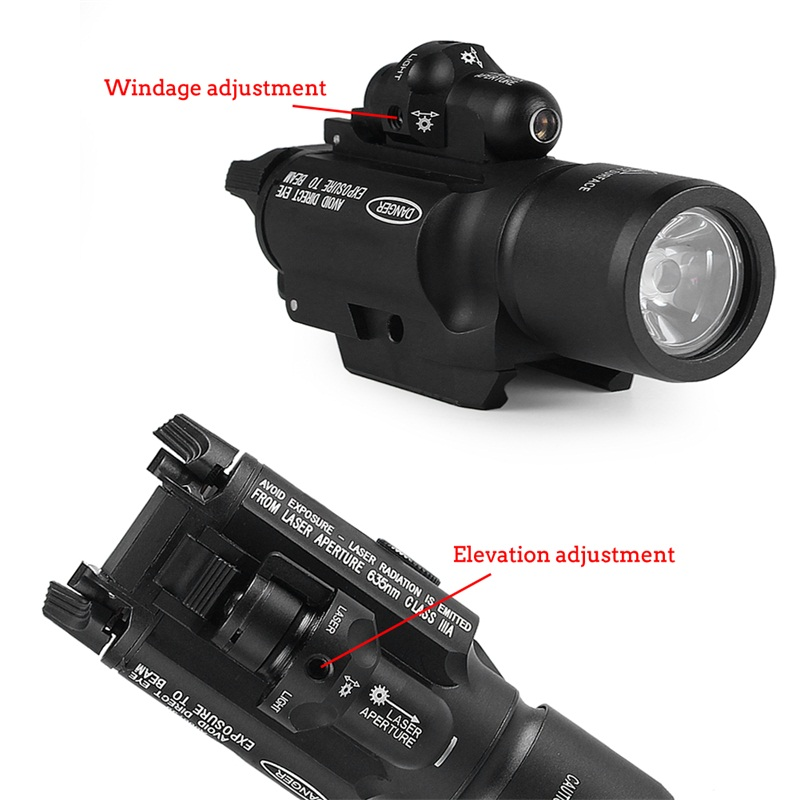 Tactical X400 LED Handgun Flashlight Weapon Light With Red Laser Sight Combo For Airsoft Hunting Shooting (25)