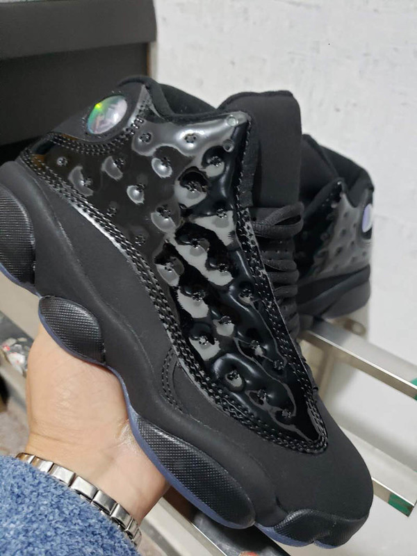 New 13 Cap and Gown Black patent leather Men Basketball Shoes Trainers 414571-012 Cheap Athletic Sports Sneakers with box