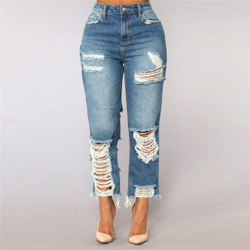 Hole Jeans Woman Plus Size New Sexy Pencil Pants Denim Skinny Stretch Soft Tights Jeans Trousers Dropshipping #FS05 (10)