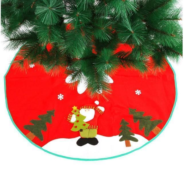 90cm Christmas Tree Santa Claus Snowflake Skirt Small Red Nov-woven Tree Skirt New Year 2020 Christmas Decoration for Home