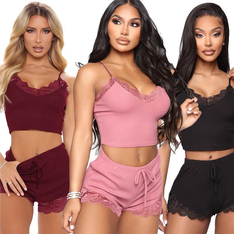 womens sleepwear nightwear sets good quality sleep bra + shorts fashion luxury breathable elegant women clothing hot sell klw5799