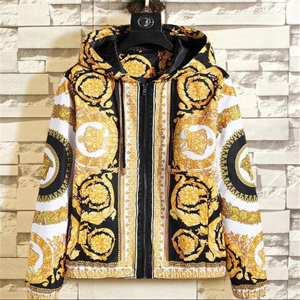 Spring autumn new jacket men fashion casual cardigan zipper hooded printed jacket men Explosive clothes Outerwear Coats Overcoats