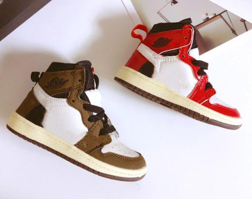 2020 Baby Infant Mocha red Top Travis Scott Basketball Shoe Children 1s High OG kids Jacks 1S Sneaker Sports Trainer Toddler shoes