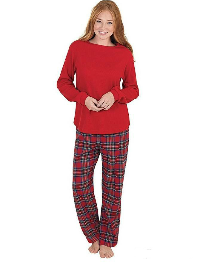 Newest Christmas Pajamas Family Look Christmas Grid Printed Clothes Sets Home Pajamas Outfits Family Matching Clothing Sets Matching Outfits