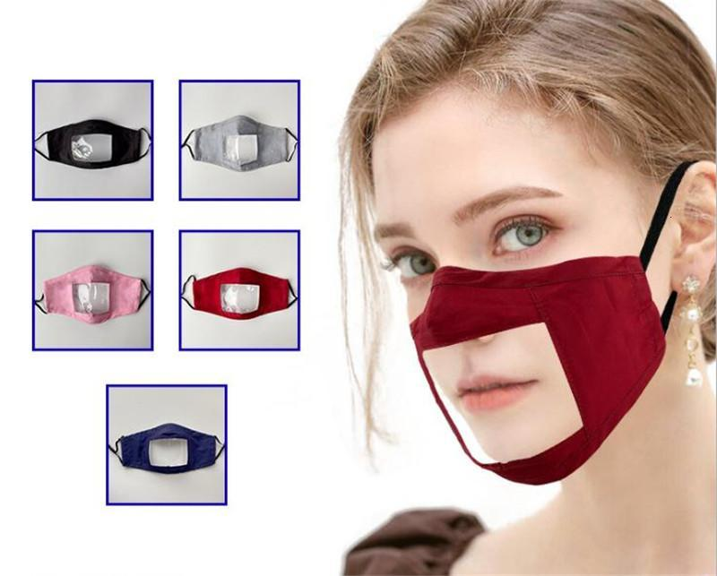 Deaf-mute Transparent Face Mask Washable Reusable Printing Masks Anti Dust Antifog Earloop Clear Designer Mask 8 styles Adults and children