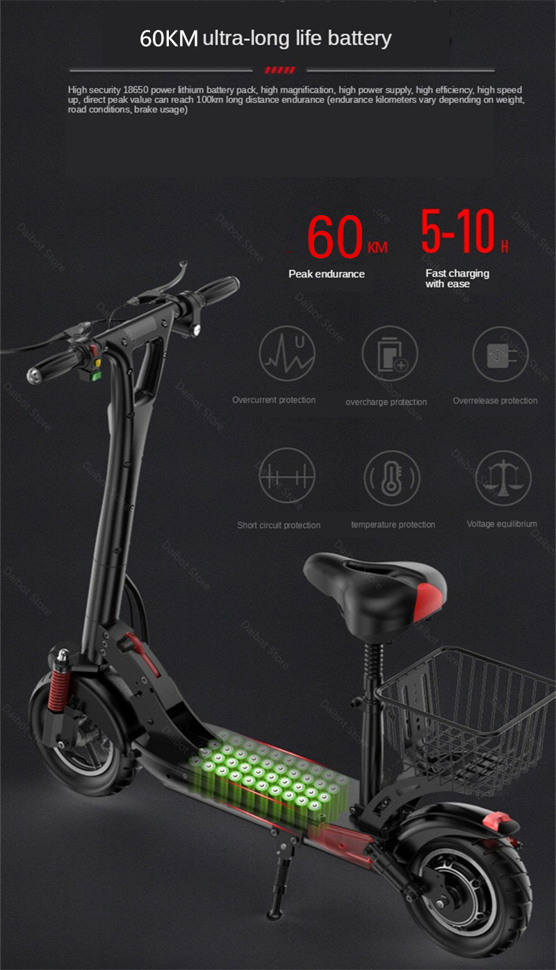 2020 Folding Electric Scooter Two Wheels Electric Scooters 10Inch 500W 48V 60KM Mini Electric Kick Scooter Adult With Bluetooth (24)