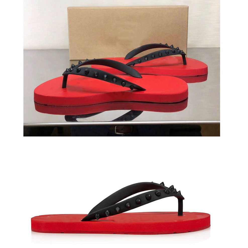 Luxurys Designers summer Men's Beach Slip On Slides Red Bottom Flip Flat Sandals Slippers Studs Sandals Flats Flip Flops Sandalies 38-46