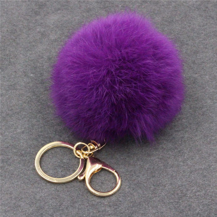 8CM ffy Pompom Real Rabbit Fur Ball Key Chain Women Trinket Pompon Hare Fur Toy keyring Bag Charms Ring Keychain Wedding Gift (24)
