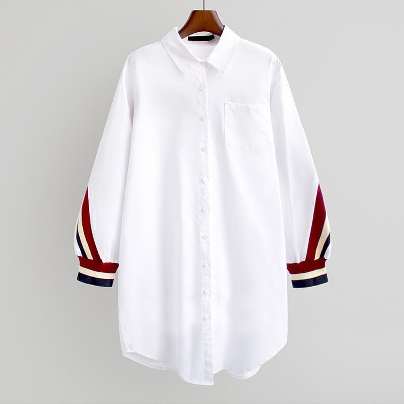 Women's Blouses & Shirts 2021 White Loose Button Up Stripe Bandage Women Turn-Down Collar Woven Long Sleeve Plus Size Ladies Tops