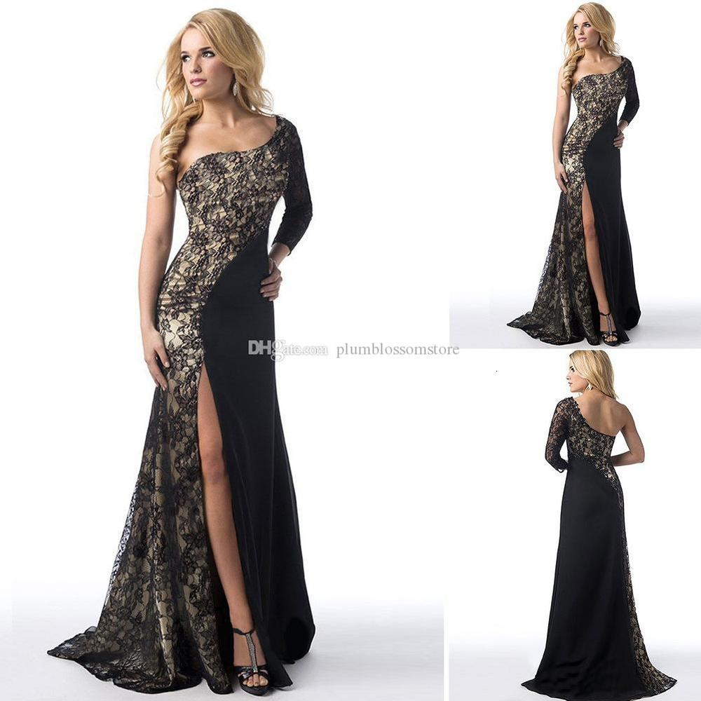 Elegant Long prom evening Dresses for Women Lace one-Shoulder contrast color maxi Sweep Train Corset fashion autumn party dress sexy