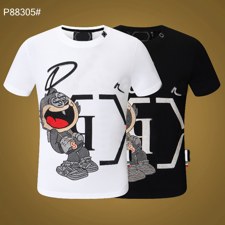 PP Men's T-shirt Summer rhinestone Short Sleeve Round Neck shirt tee Skulls Print Tops Streetwear M-xxxL P88305 Philipp Plein