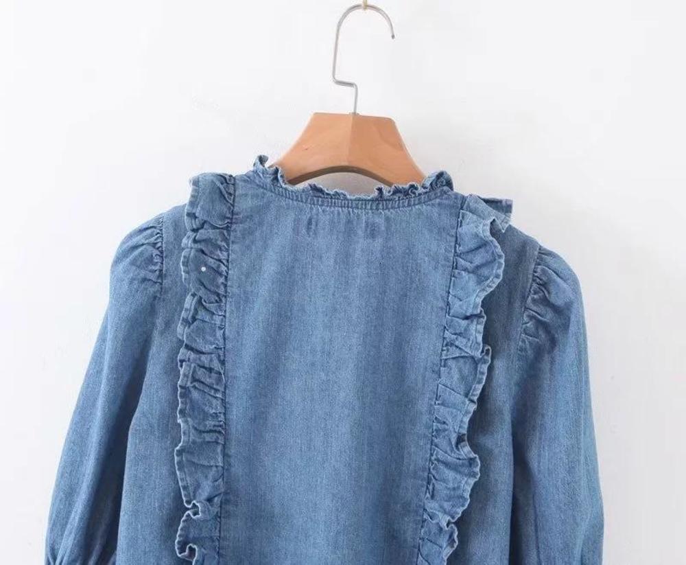 Womens Shirt Elegant Ruffles Denim Women Blouse Autumn Butterfly Sleeve Slim Jeans Shirt Vintage Office Ladies Tops Blusa Plus Size