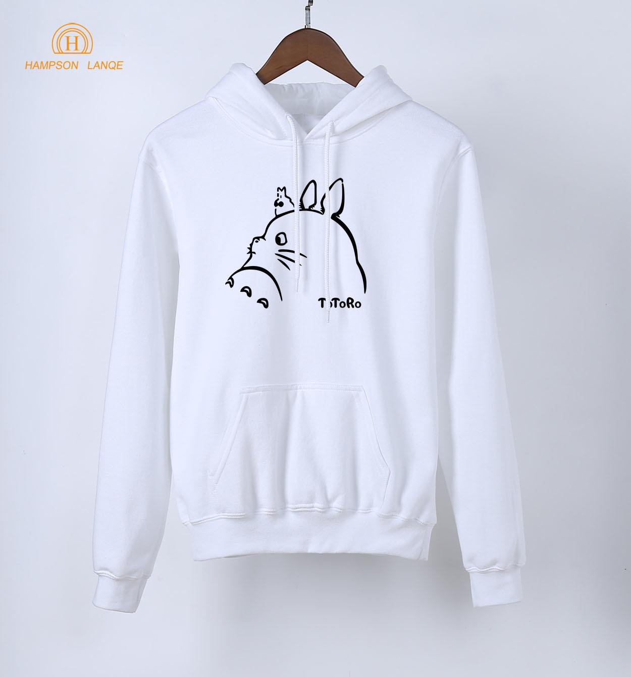 Anime Hoodies Kawaii Totoro Print Sweatshirts 2019 Spring Autumn Harajuku Women Long Sleeve Hoodie White Warm Fleece Pullovers