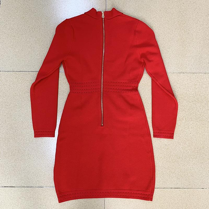 New Arrival Designer Brand Women Runway Dresses V Neck Long Sleeve Lion Head Button Sexy Milan Runway Dress Sheath Slim Knitted Dress H26