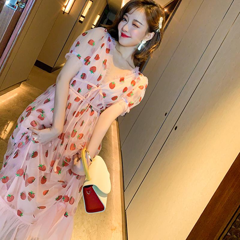 Runway Rhinestone Diamonds Strawberry Pink Mesh Maxi Dress Women Short Puff Sleeve Sexy V-neck Lace-up Bow Tunic Lolita Dress (15)