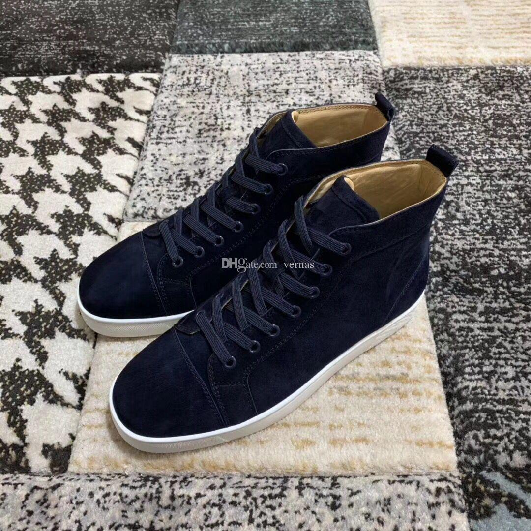 Navy-blue Suede Leather Sneakers Shoes Superior Comfort Red Bottom Shoes For Women,Men High Top Good Quality Casual Walking Shoes