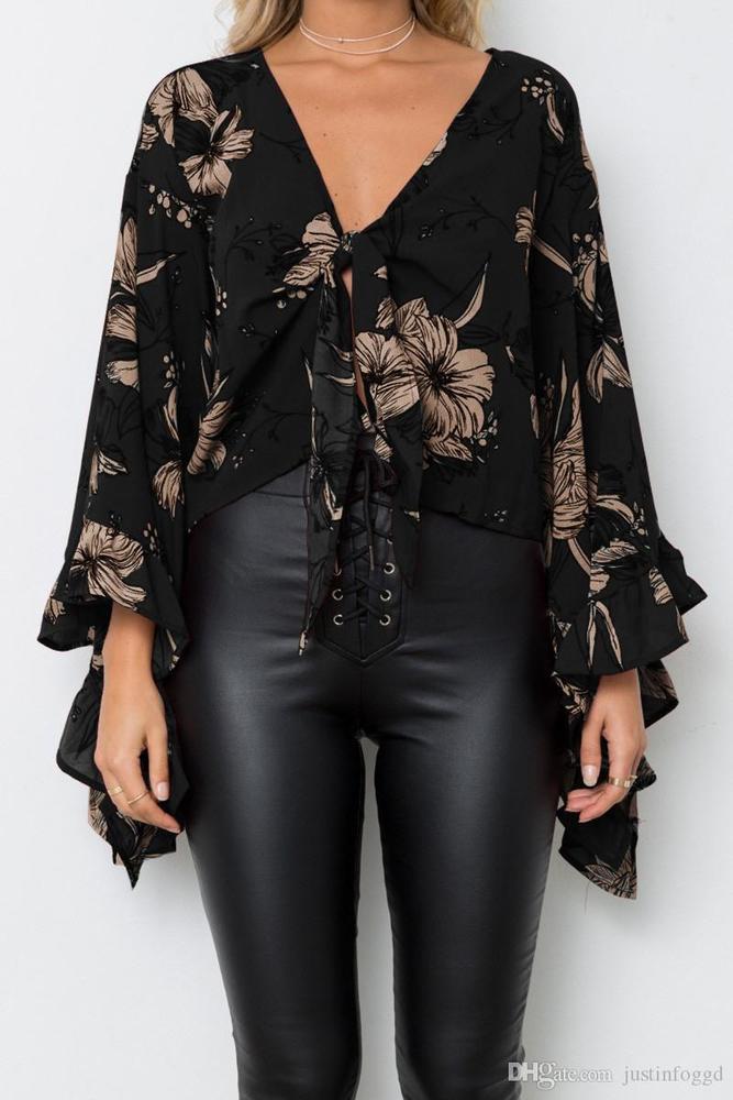 Summer Sexy Bare Midriff Womens Designer Shirts Flora Printed Irregular Hem Petal Sleeve Tops Fashion Womens