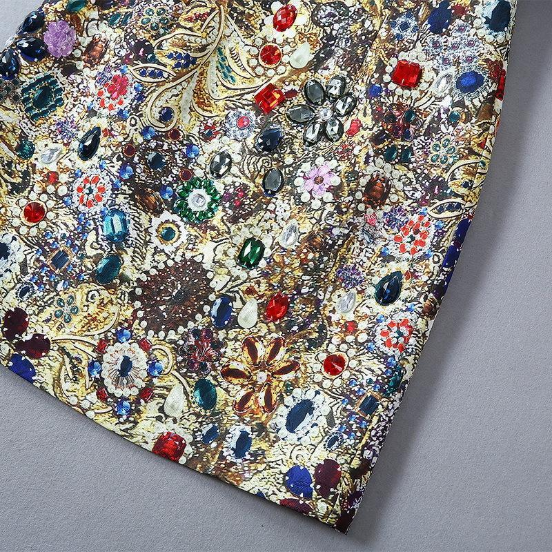 730 XL 2020 High Quality Summer Flora Print Panelled Short Sleeve Beads Clothes Crew Neck SH