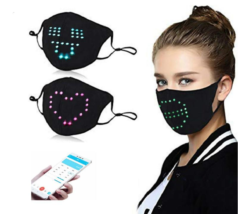 Bluetooth Programmable app control Glowing Mask With PM2.5 Filter LED Face Masks for Christmas Party Festival Masquerade Rave Light Up Mask