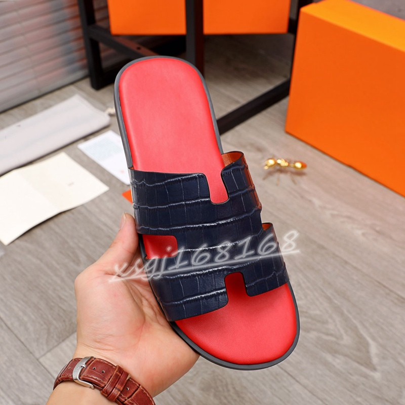 Kids Classic H mens Izmir Slippers Summer Slide Real Soft Leather Men Beach Flip Flops Luxury Men's Slipper top quality sandals