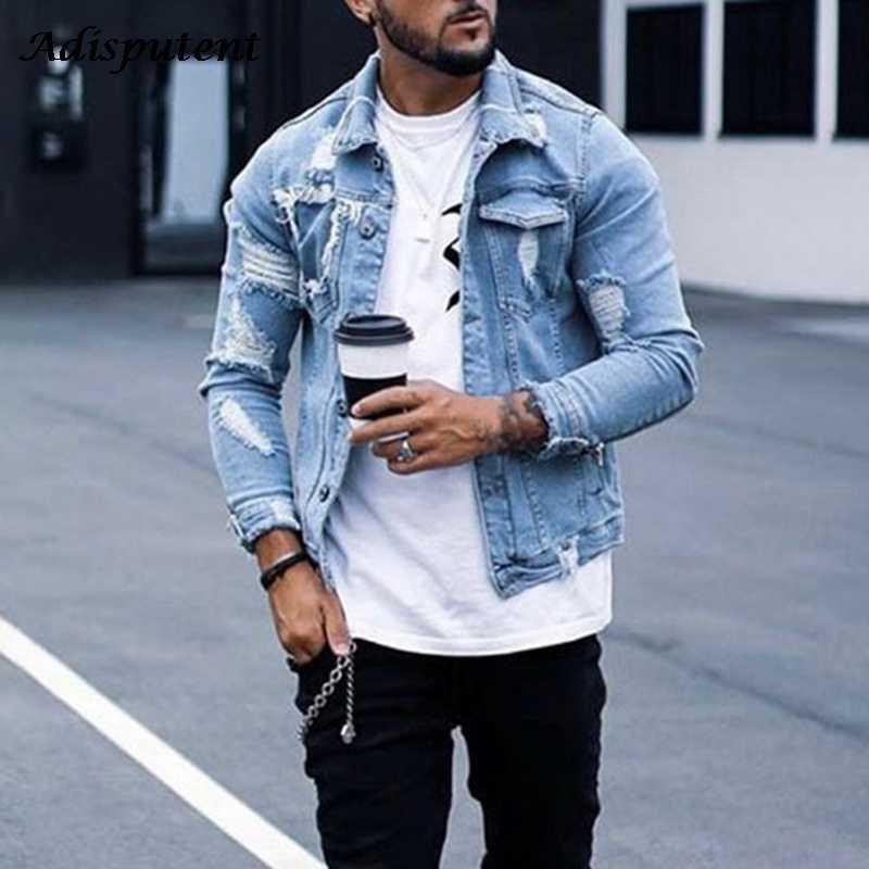 Adisputent Men Jeans Coat 2021 Autumn Men's Jacket Fashion Casual Denim Jacket Men Plus size Blue Color Lapel Ripped Jean Jacket X0710