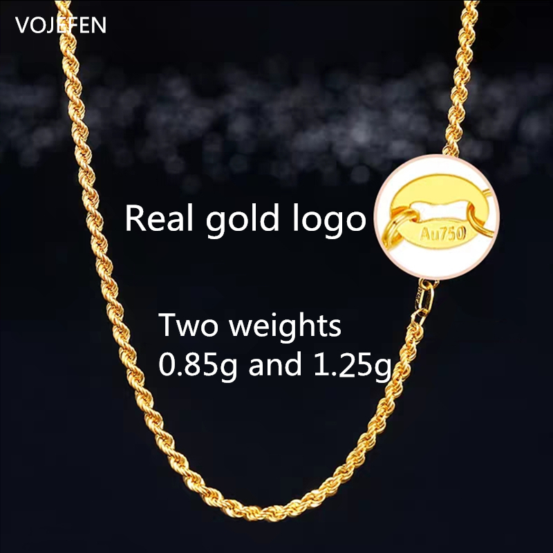 VOJEFEN-AU750-Jewelry-Pure-Gold-Necklace-18k-Gold-Necklace-For-Women-And-Men-18K-Yellow-Gold