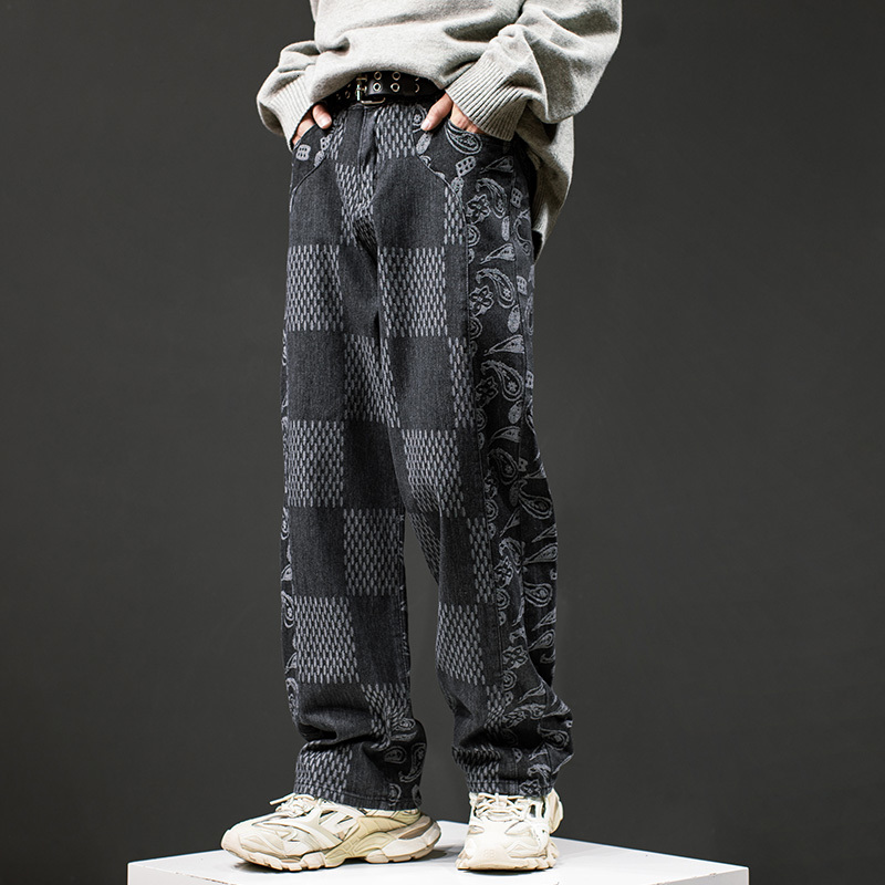 2021 New Harajuku Color Block Cashew Print Checkered Jeans Pants for Men High Street Straight Washed Plaid Casual Denim Trousers K10z