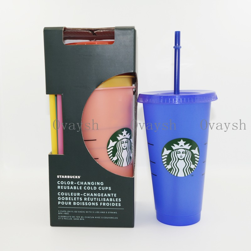 5pcs 24OZ/710ml Starbucks Color Change Plastic Tumbler Reusable Clear Drinking Flat Bottom Cup Pillar Shape Lid Straw Mug Bardian