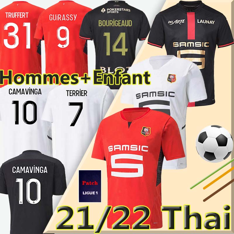 Rennes Fans Player Version 21/22 Stade Rennais soccer jerseys 120th Anniversary Maillots 20/21 CAMAVINGA BOURIGEAUD NIANG DA SILVA Doku Men kids kit football jersey