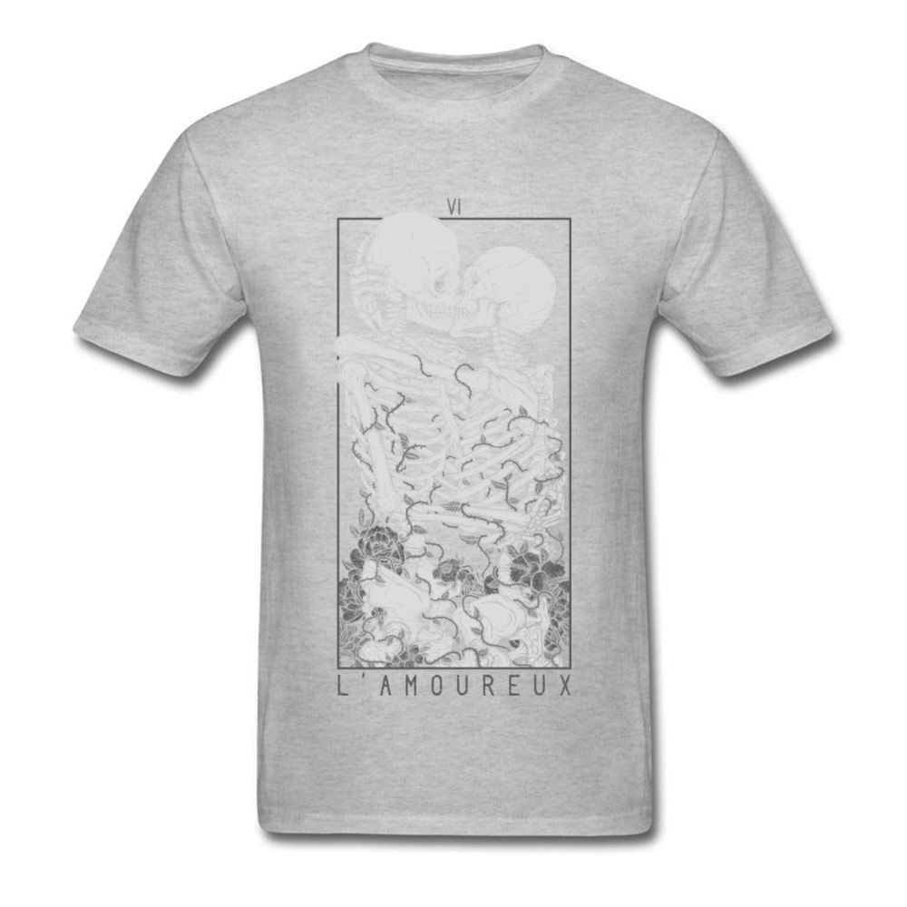 The Lovers Summer Autumn Pure Cotton Crew Neck Tees Short Sleeve Summer Clothing Shirt New Design Design T Shirt The Lovers grey