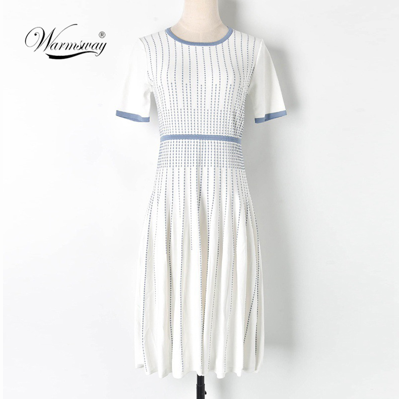 High Quality white and blue o neck short sleeve fit and flare geometric knitted knee length autumn winter dress elegant C-185