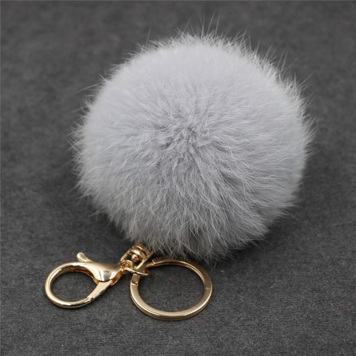 8CM ffy Pompom Real Rabbit Fur Ball Key Chain Women Trinket Pompon Hare Fur Toy keyring Bag Charms Ring Keychain Wedding Gift (23)