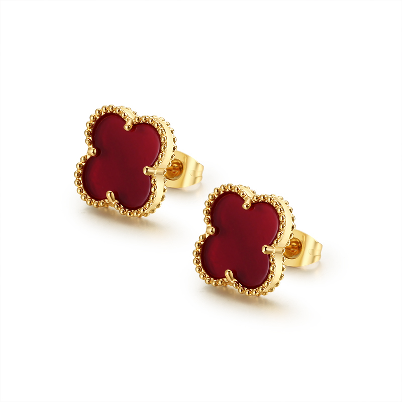 lucky Fashion Red 4 Leaf Clover Women Stainls Steel Stud Earrings Jewelry four leaf clover brand earring
