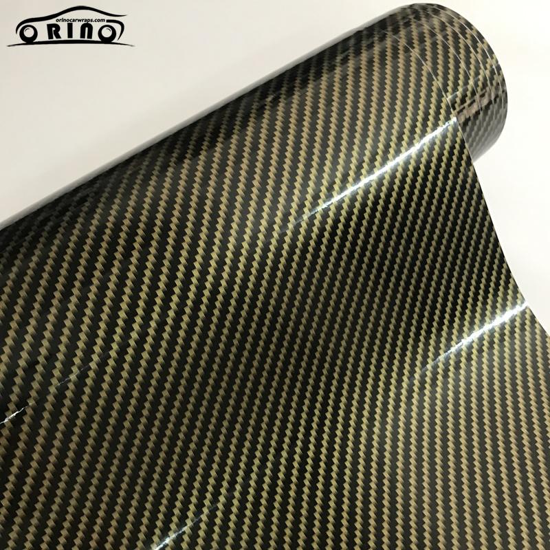 2D Gold Carbon Fiber Vinyl Wrap Sticker-1