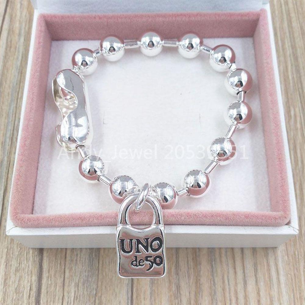 Authentic Bracelet Snowflake Friendship Bracelets UNO de 50 Plated Jewelry Fits European Style Gift PUL1215MTL000