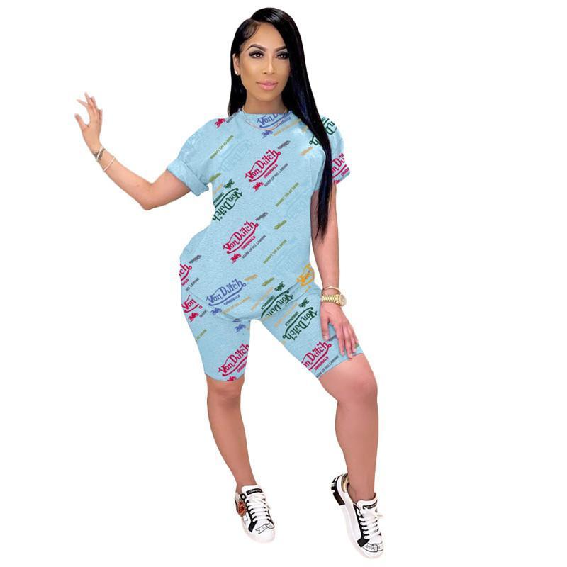 Womens Outfits Two Piece Set Sportswear Short Sleeve Women Jogger Sportsuit For Ladies Casual Women Tracksuits Fashion T-shirt Shorts kl0722