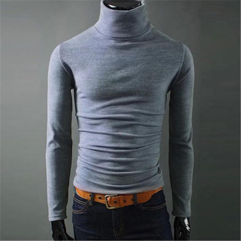 Spring Autumn Mens Designer Tshirt Long Sleeve High Neck Slim Tees Solid Color Casual Male Clothes