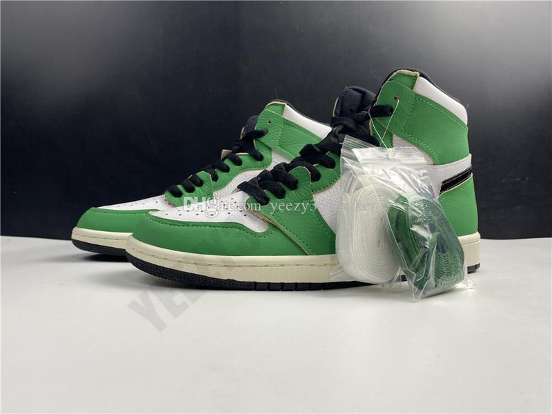 2020 With Box High Lucky Green 1 1s OG High Basketball Backboard Mens Basketball Shoes Black Pale DB4612 -300 Athletic Sneakers Size 40.5-46