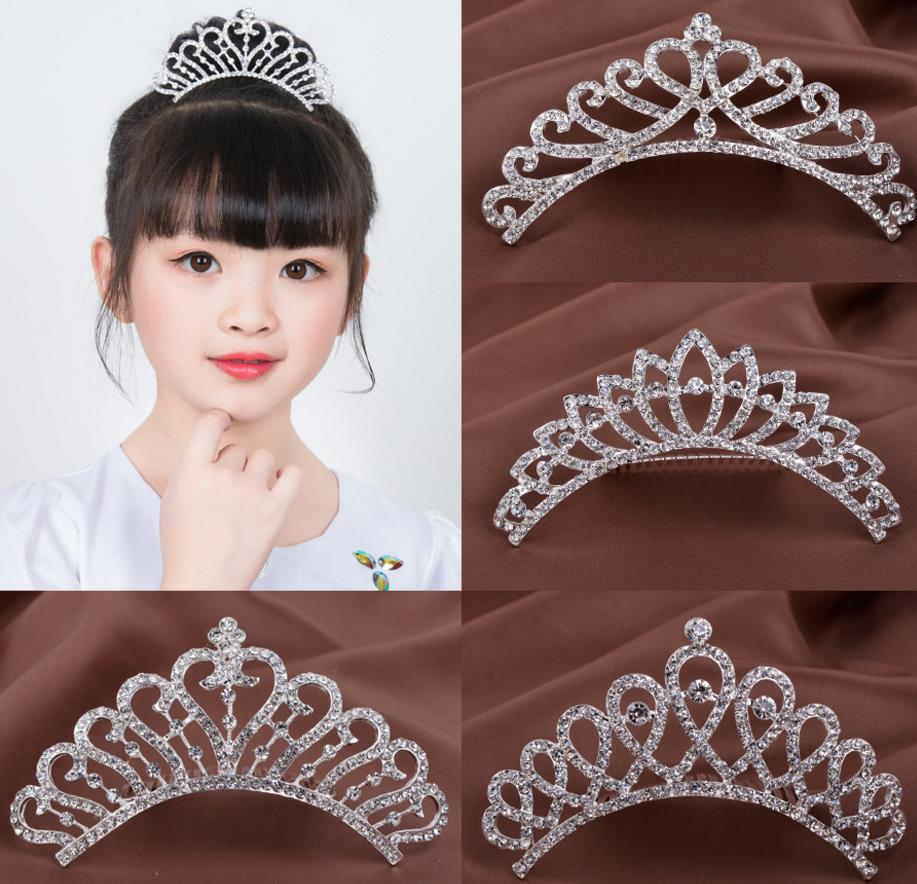 wedding crystal crown comb pearl hair sticks prom headband kids girl party events clear rhinestone tiaras sliver hair jewelry Christmas gift