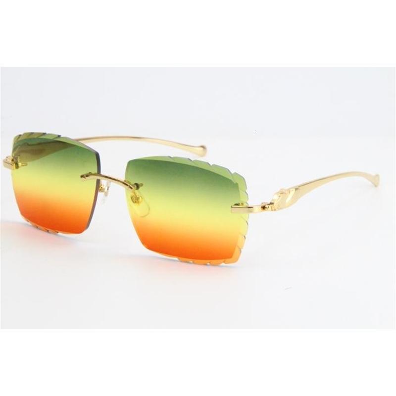2020 New Metal leopard series Sunglasses 3524012 Unique Oversized Shapes Large Square Sunglasses Gradient Lenses Surround Rimless Eyewear