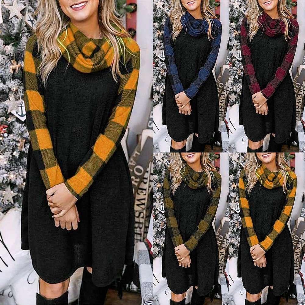 Women Dress Plaid Long Sleeve Stitching Dress Pile Collar Fashionable Casual Fashion Autumn And Winter Asain Size S-XXL